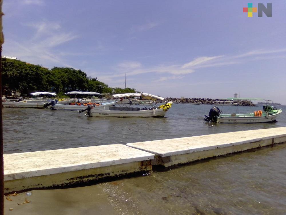 Lancheros del Puerto de Veracruz, a la espera de turistas