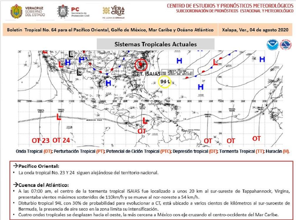 Onda Tropical ocasionará aumento de lluvias entre jueves y viernes
