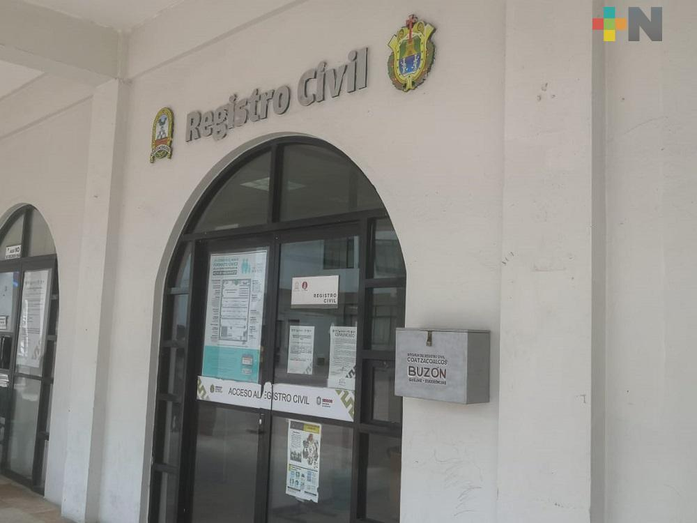 De manera controlada, Registro Civil de Coatzacoalcos reactiva trámite de actas de nacimiento certificadas