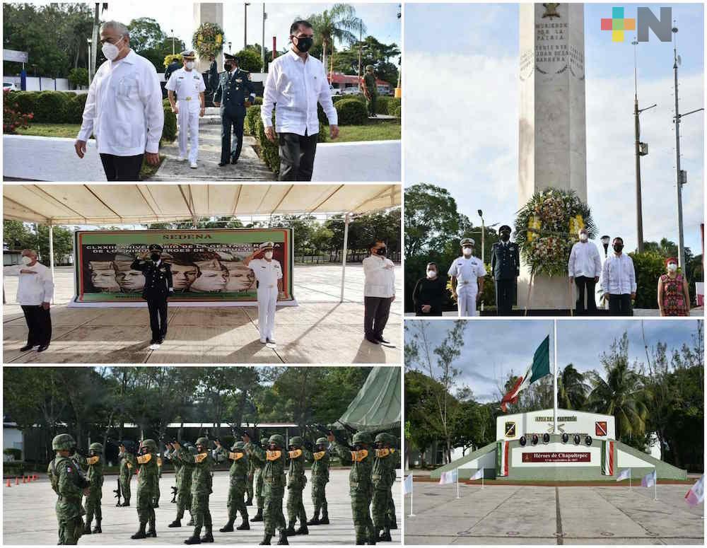 Autoridades militares, navales y municipales de Coatzacoalcos y Minatitlán conmemoraron a Niños Héroes de Chapultepec