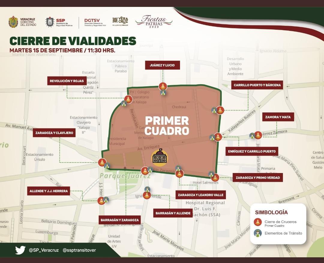 Por ceremonia del Grito de Independencia, limitarán movilidad vehicular en el centro de Xalapa