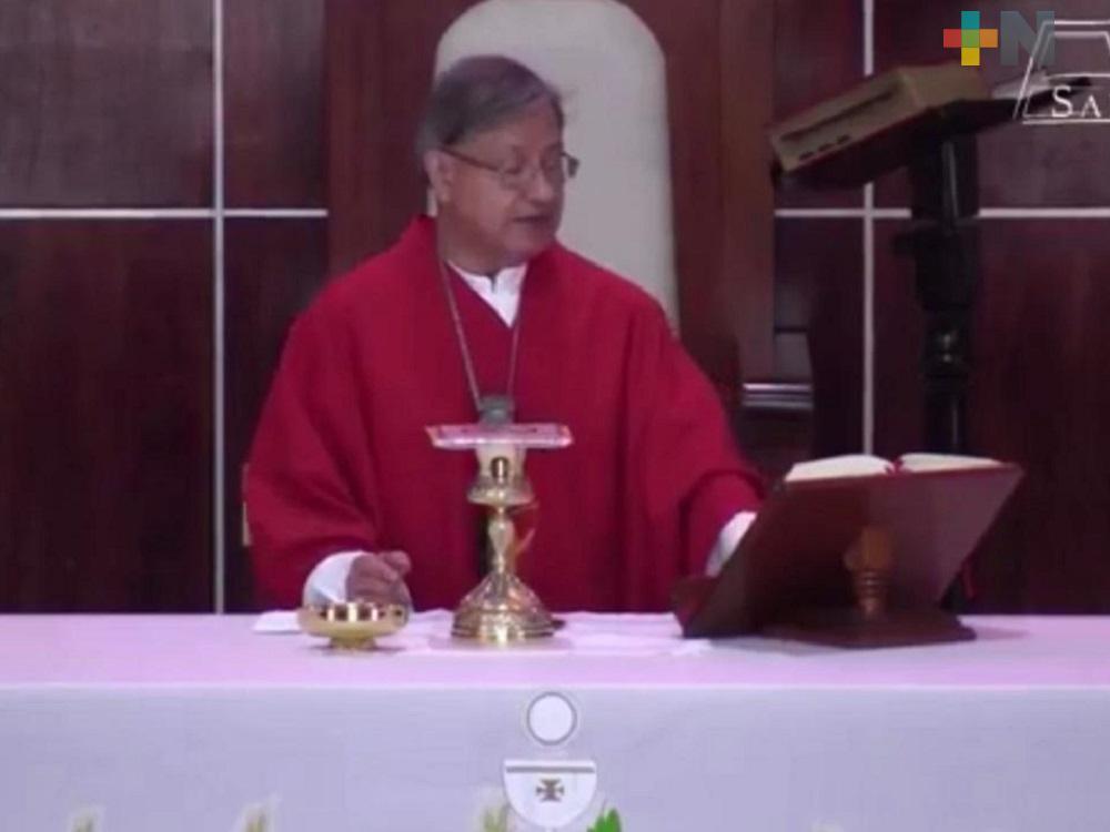 Familias no pueden desanimarse ante la contingencia sanitaria: Obispo de Coatzacoalcos