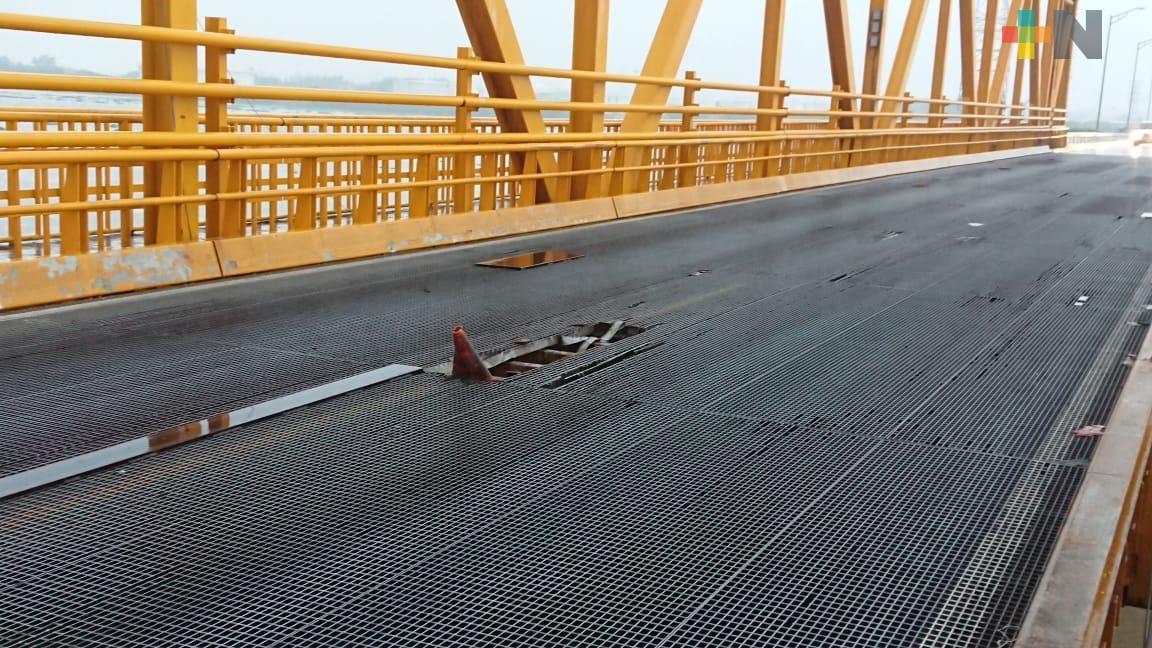 Por cambio de rejilla cerrarán paso en puente Coatzacoalcos I