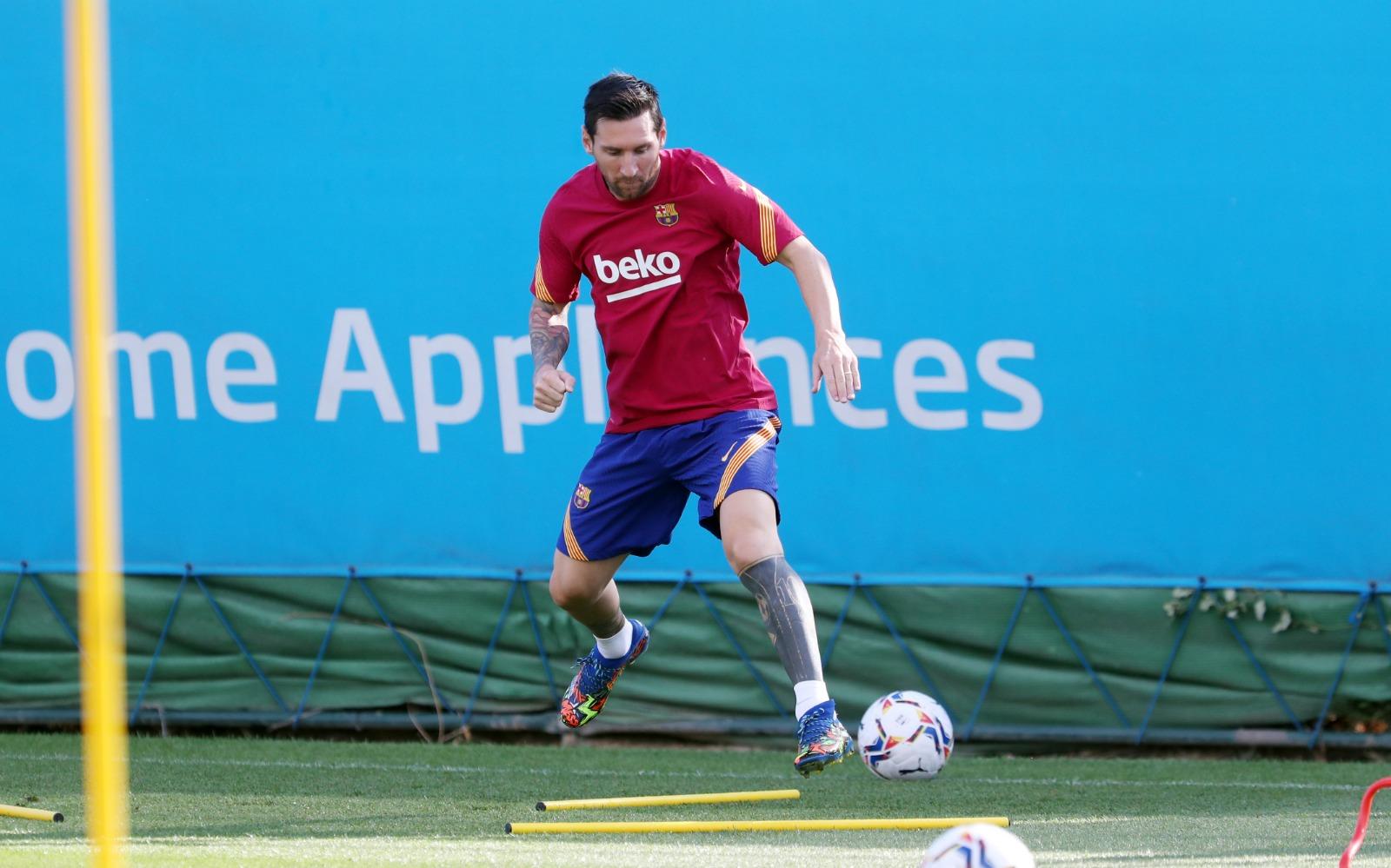 Messi ya entrenó con el Barcelona