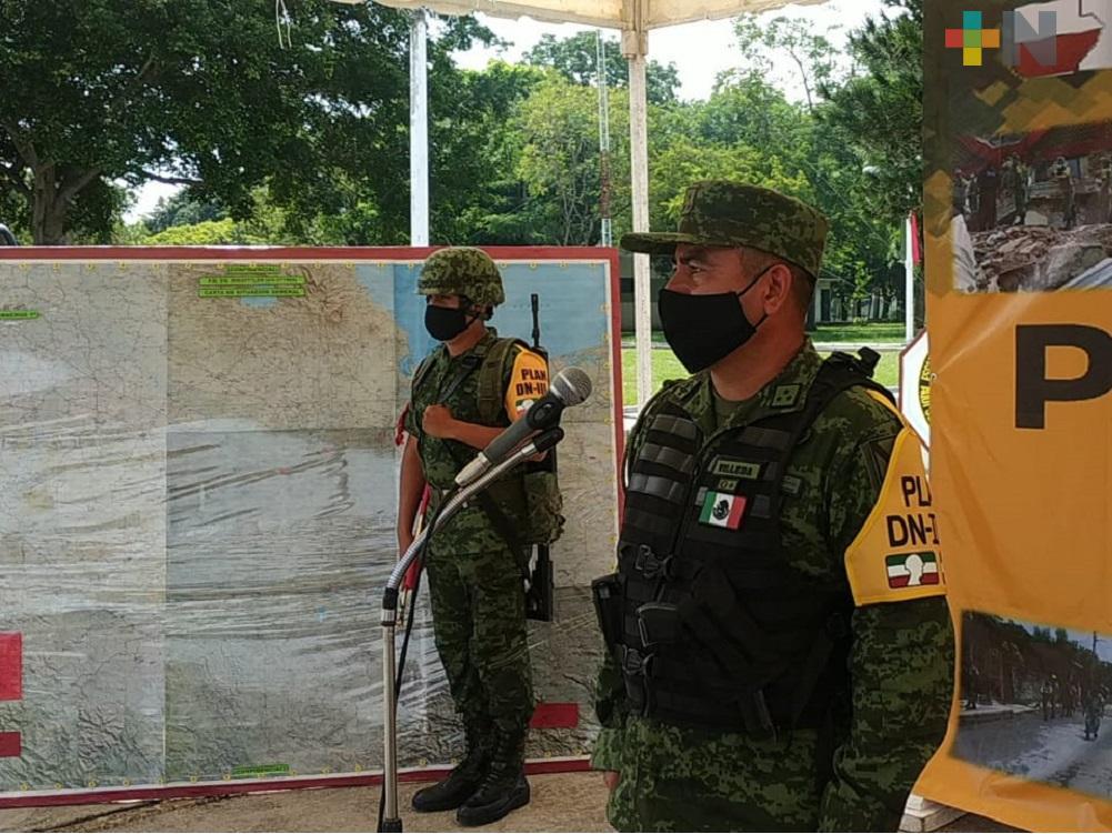 Presentan Plan DN-III-E que aplicarán en el sur de Veracruz en caso de desastres naturales