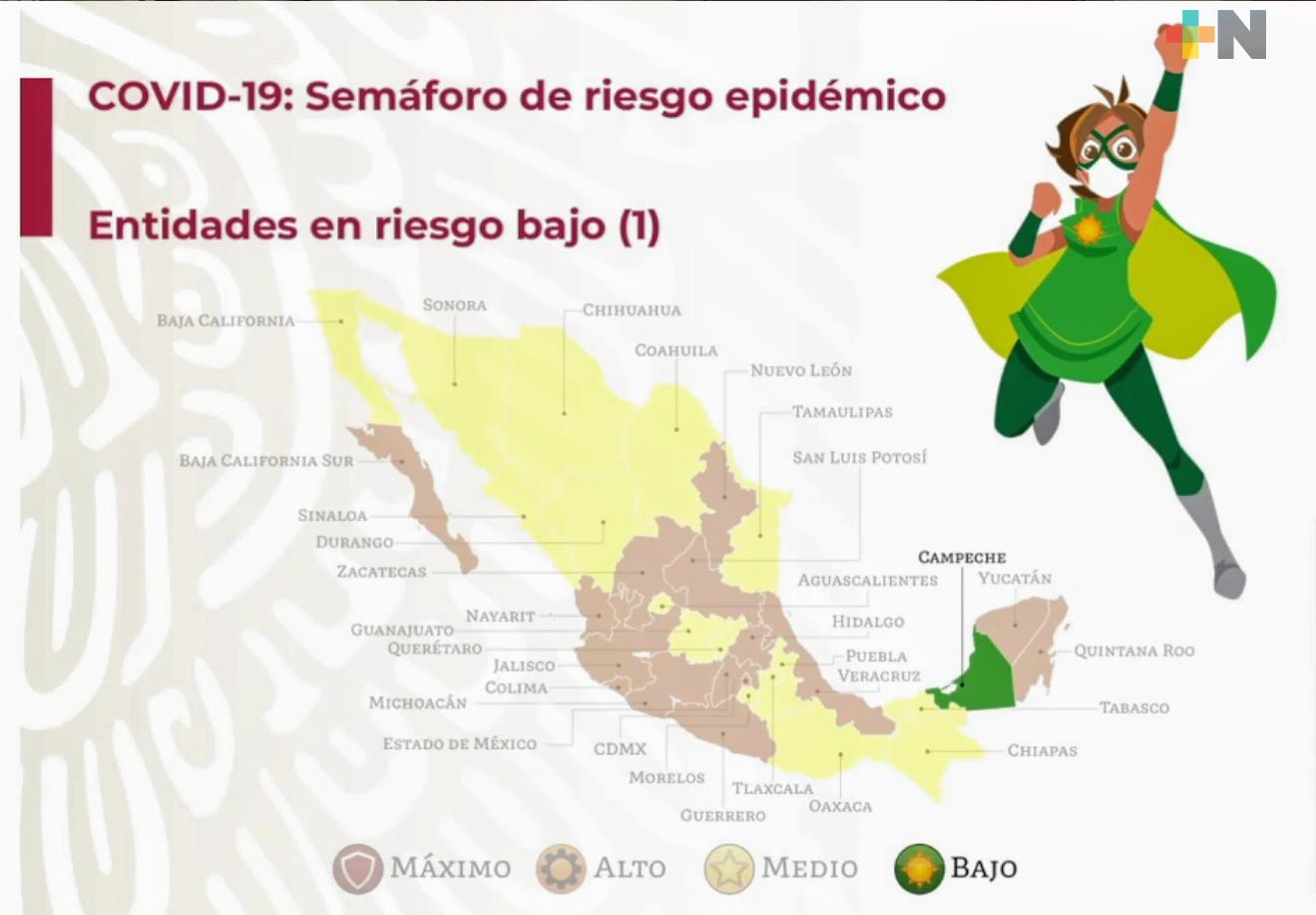 Campeche, primer estado en semáforo verde