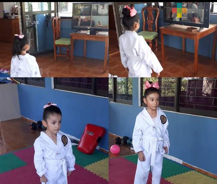 Taekwondoínes de Coatza se entrenan en plataformas digitales