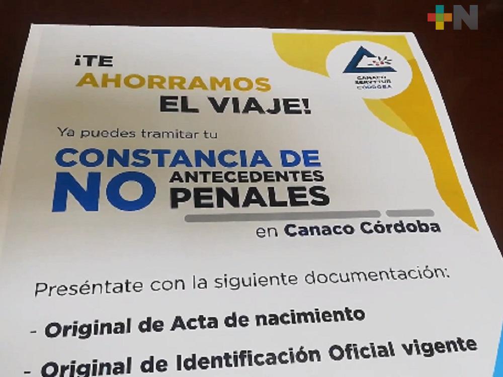 Ciudadanos podrán tramitar carta de no antecedentes penales en oficina de Canaco Córdoba