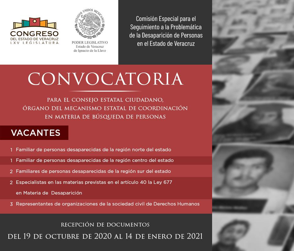 Emite Congreso convocatoria para nueve vacantes en el Consejo Estatal Ciudadano