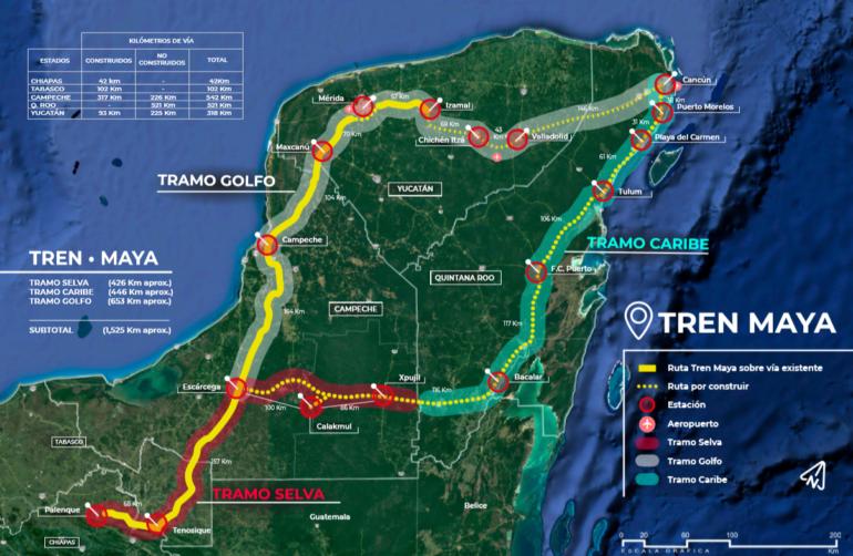 Tren Maya se ubica entre los mayores proyectos de transporte de América del Norte