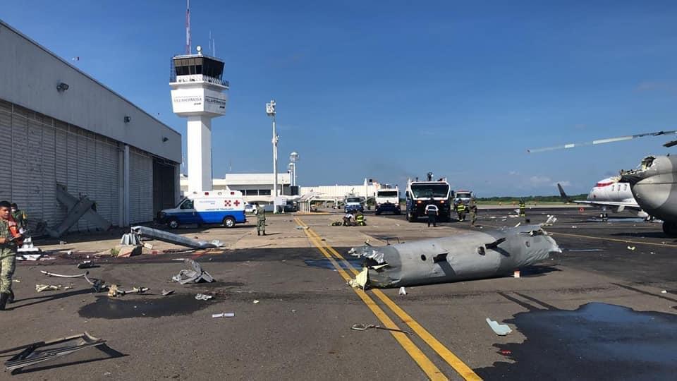 Helicóptero de la Armada de México sufre accidente en aeropuerto de Villahermosa