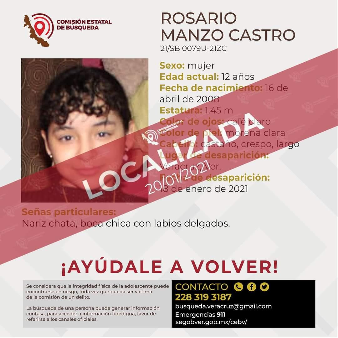 Comisión Estatal de Búsqueda confirma localización de la niña Rosario Manzo Castro