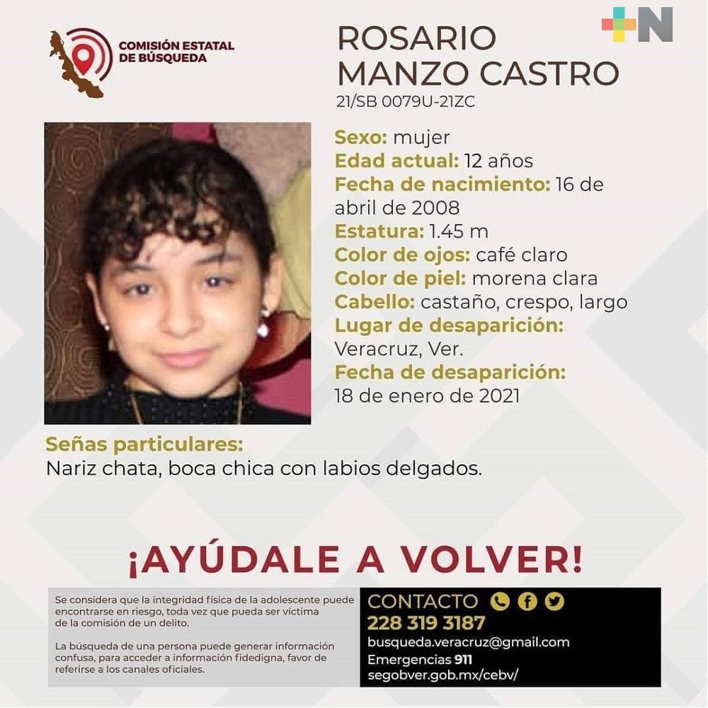 Comisión Estatal de Búsqueda difunde ficha para localizar a menor desaparecida en municipio de Veracruz