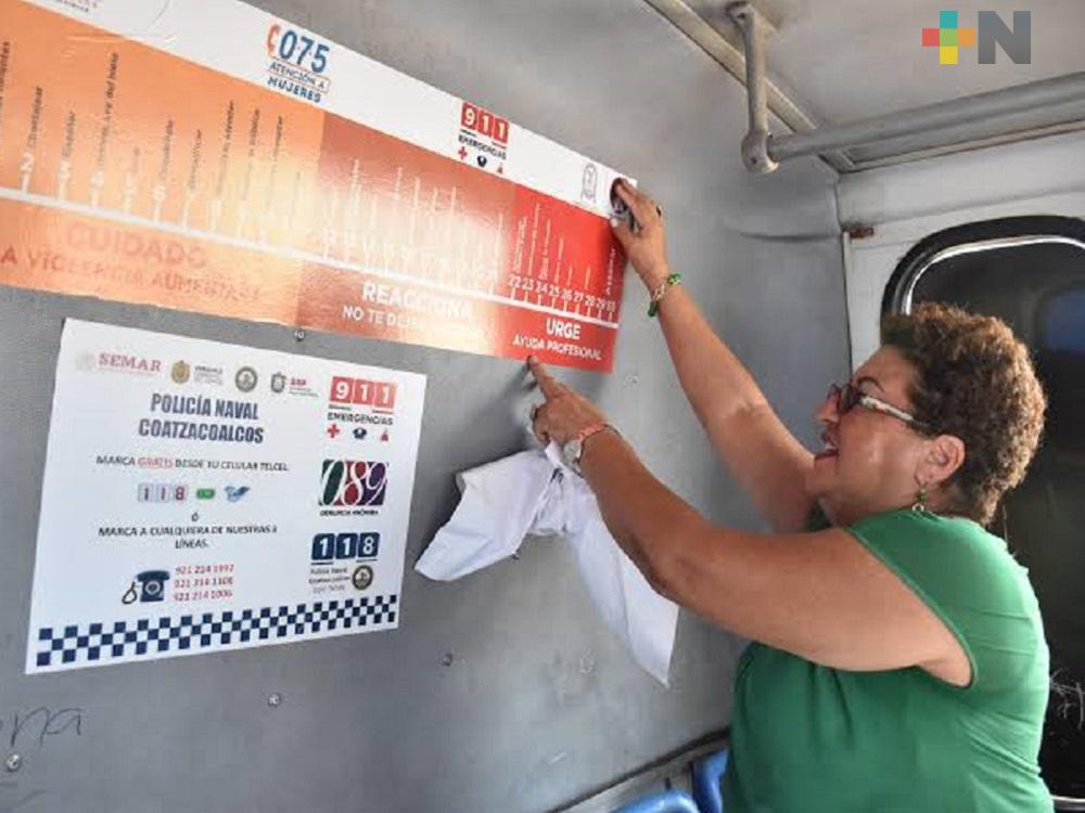 Continuarán instalando violentómetros en transporte público de Coatzacoalcos