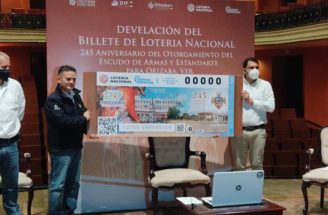 Develaron billete de la Lotería Nacional dedicado a Orizaba