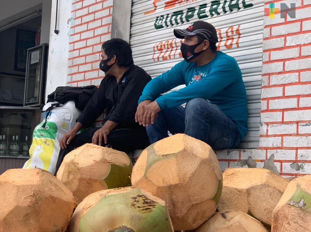 Productores de coco llegan  a Coatzacoalcos para comercializar su producto