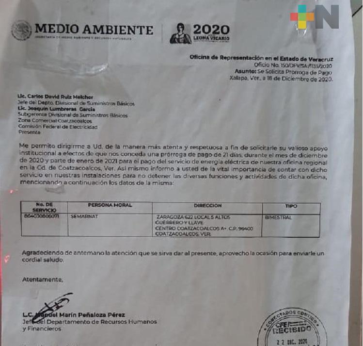 Semarnat delegación Coatzacoalcos solicita a CFE prórroga para pagar adeudo pendiente
