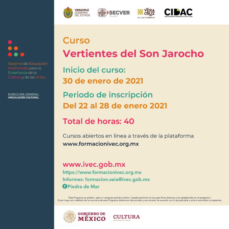 """Invita IVEC a inscribirse al curso en línea """"Vertientes del Son Jarocho"""""""