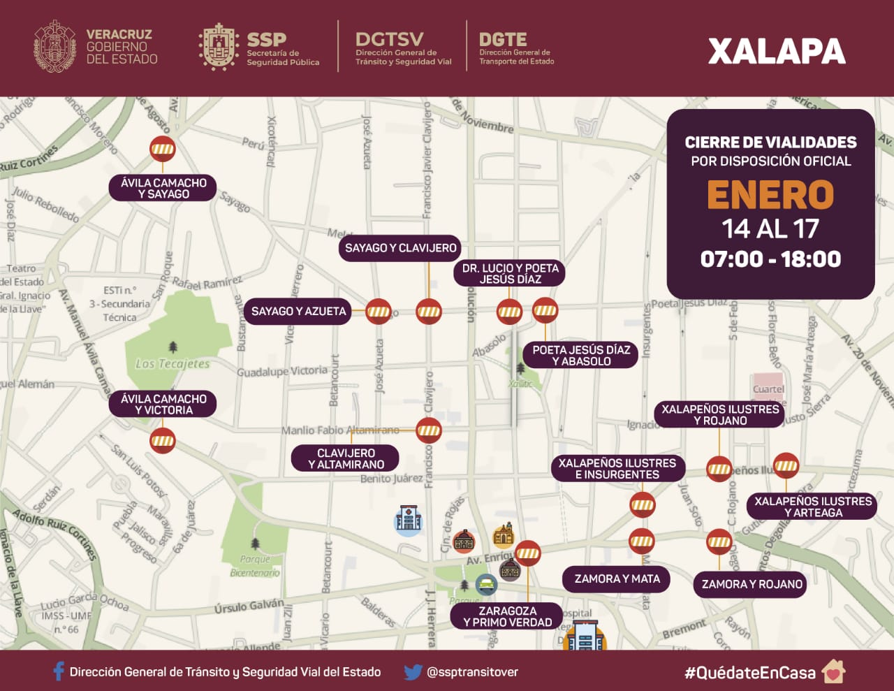 Anunciaron las vialidades de Xalapa que estarán cerradas durante el fin de semana