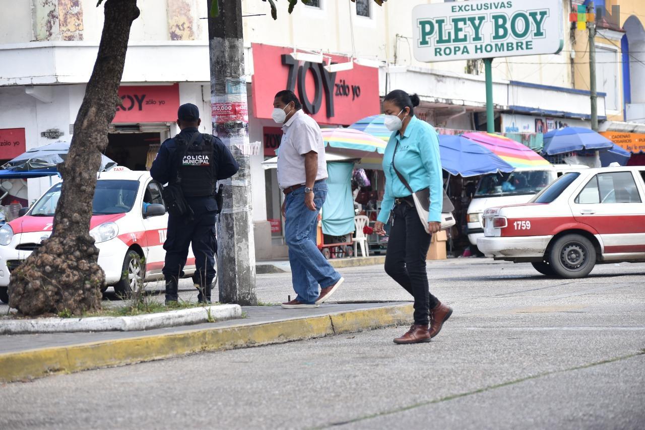 Se redujo la movilidad en el primer cuadro de la ciudad de Coatzacoalcos