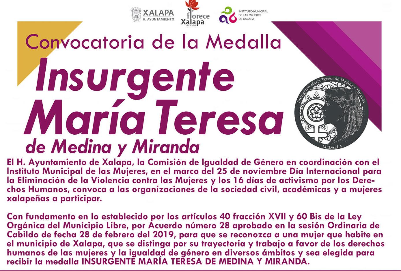 Ayuntamiento de Xalapa lanzó convocatoria para Medalla Insurgente María Teresa de Medina y Miranda