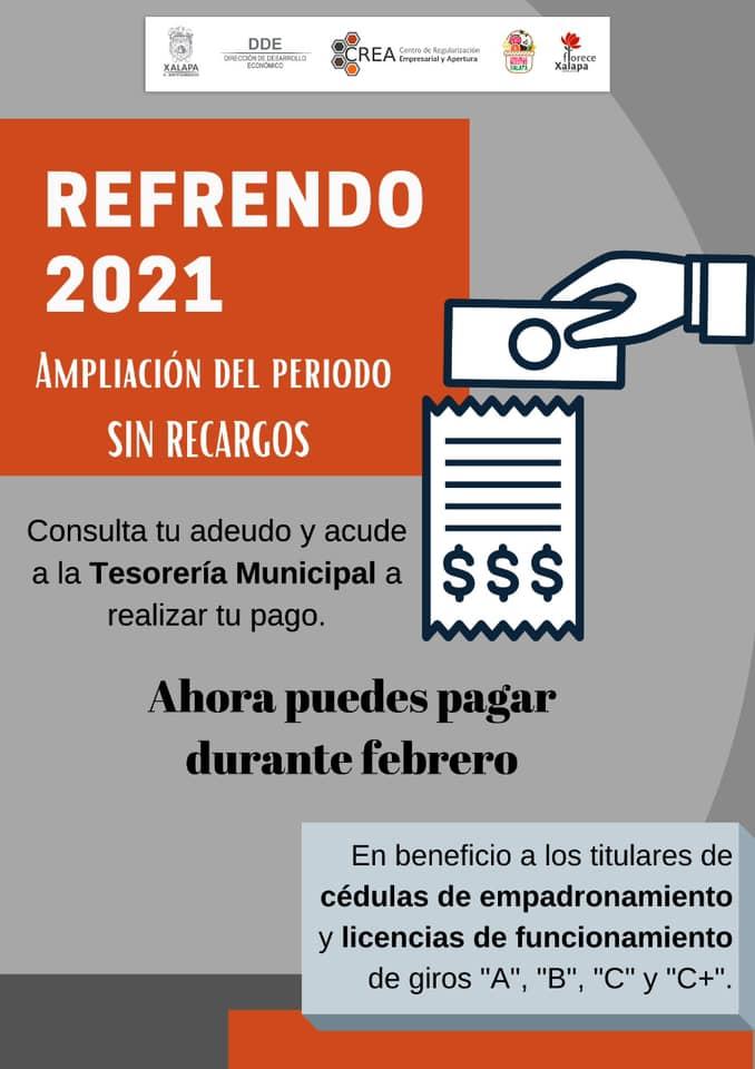 Continúa condonación de recargos en pago de refrendo comercial en Xalapa
