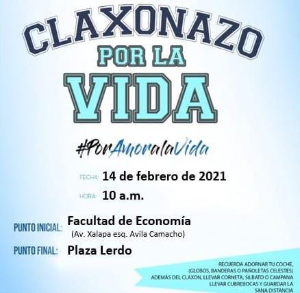 Convocan a participar en Claxonazo por la Vida, en Xalapa