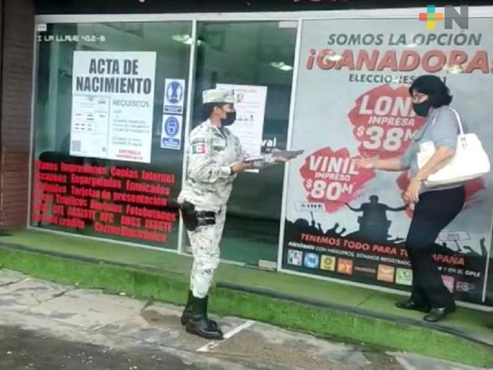 En Coatzacoalcos, Guardia Nacional visitó comercios para informales que hacer en caso de robo