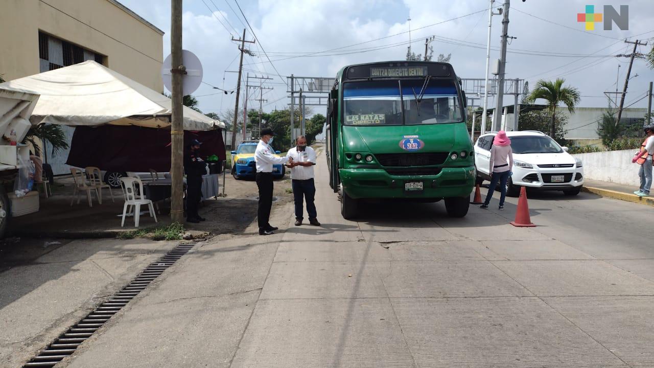 En tres meses, SSP desinfectó 25 mil unidades de transporte público, en Coatzacoalcos