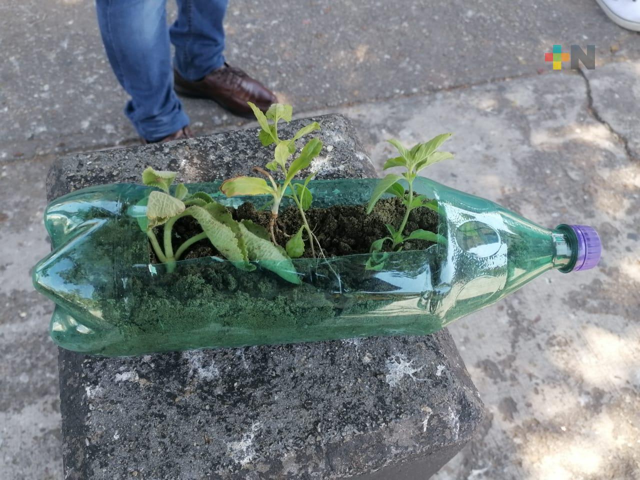 En Limpia Pública enseñan a elaborar macetas con material reciclado