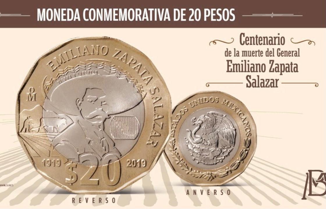 Ya circula moneda de 20 pesos conmemorativa de la muerte de Emiliano Zapata