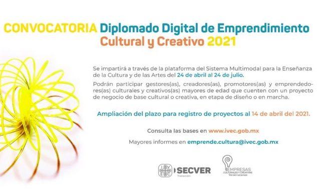 Extiende IVEC periodo de inscripciones al Diplomado Digital de Emprendimiento Cultural y Creativo 2021