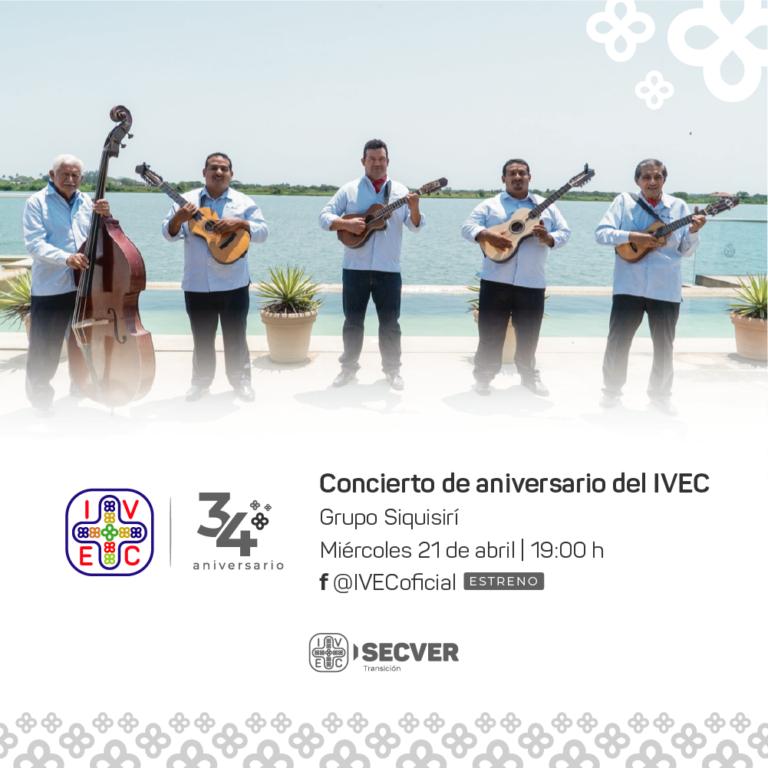 Celebra IVEC el 34 aniversario de su fundación con recital del grupo Siquisirí