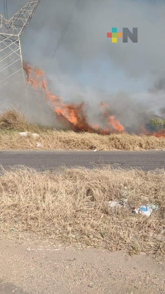 Liquidado, incendio de pastizal en Minatitlán