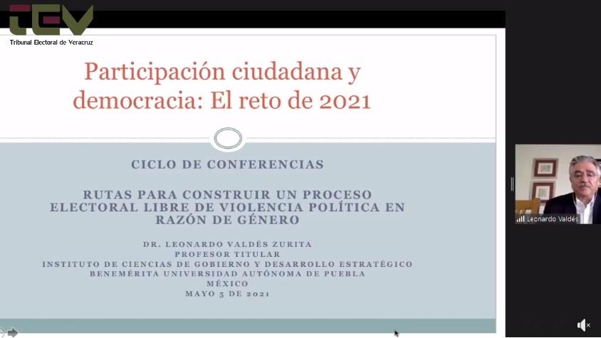 """Leonardo Valdés ofreció conferencia virtual """"Participación ciudadana y democracia: el reto de 2021"""""""
