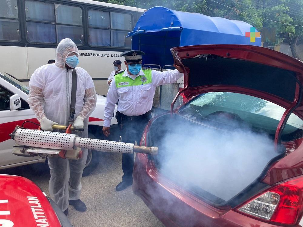 En Minatitlán, sanitizaron cerca de 250 unidades de transporte público