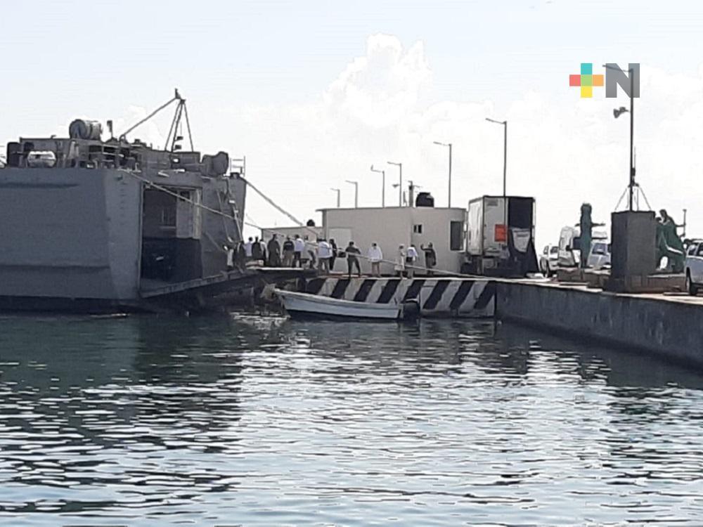 En Veracruz, secretaria Olga Sánchez, supervisó trabajos de envío de ayuda humanitaria a Cuba