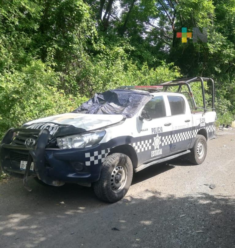 Volcó patrulla de la Policía Estatal en Santiago Tuxtla
