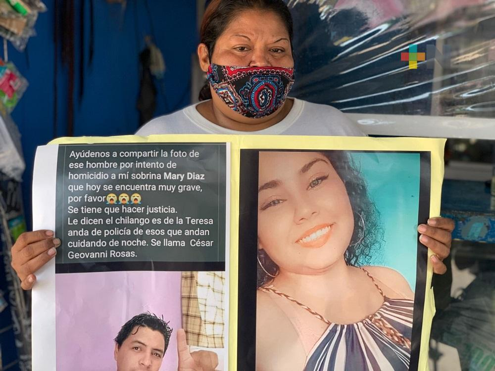 Severa lesión en la nuca sufrió una mujer agredida con martillo, en Coatzacoalcos