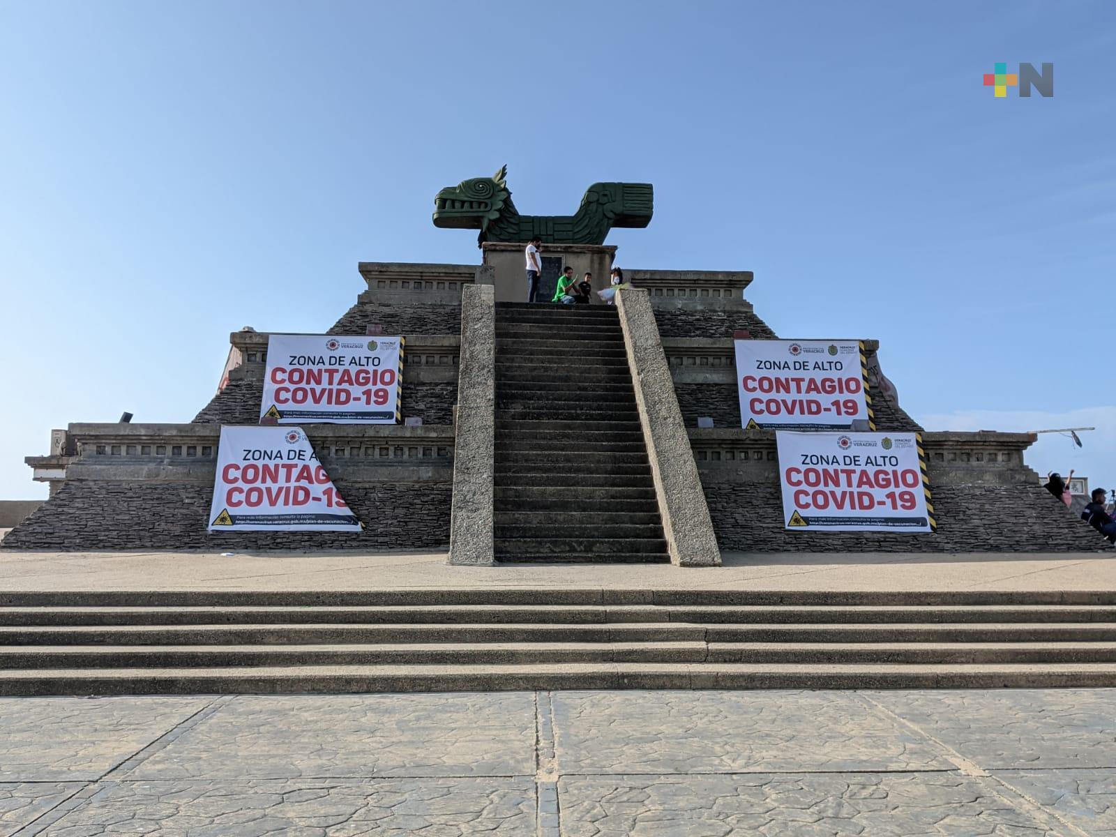 Pirámide del malecón de Coatzacoalcos es de alto riesgo para contagios de COVID-19