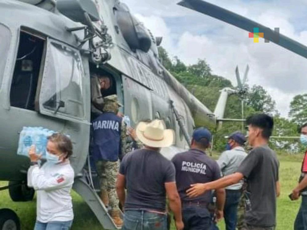 Damnificados en la Sierra Norte de Veracruz recibieron suministros