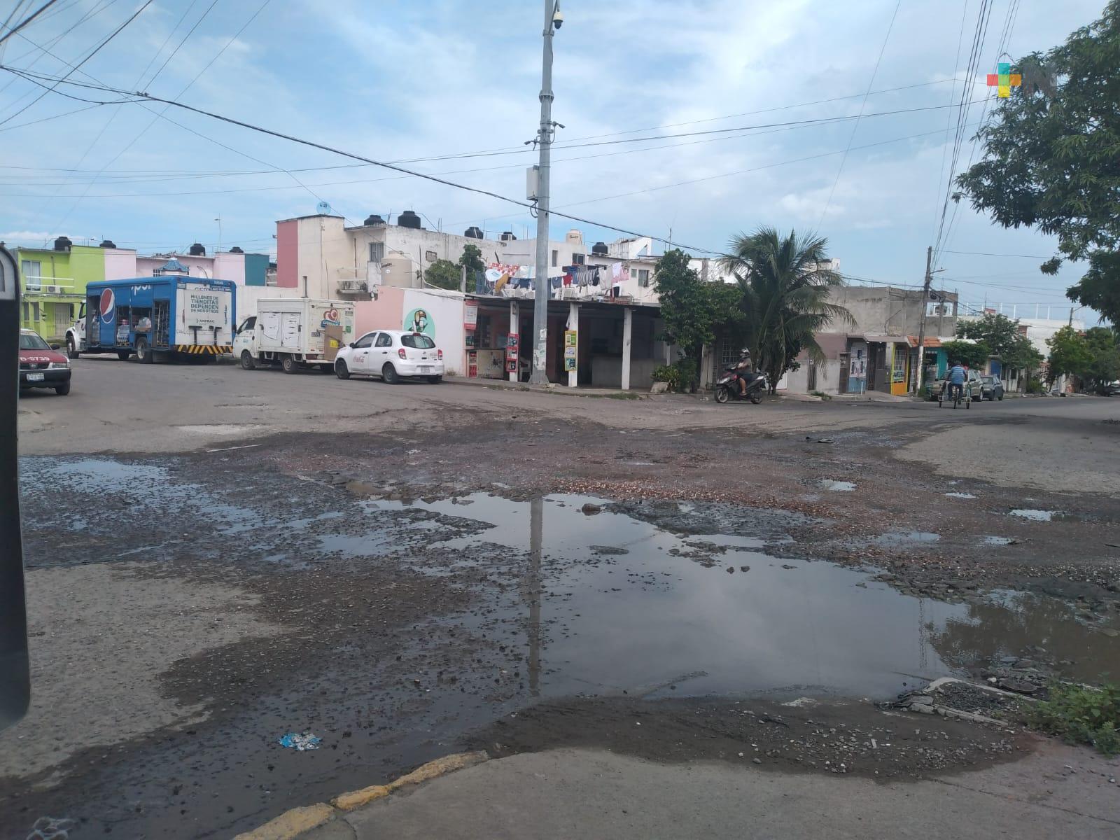 Deteriorada avenida Leonardo Pasquel de unidad habitacional Las Brisas, en Veracruz