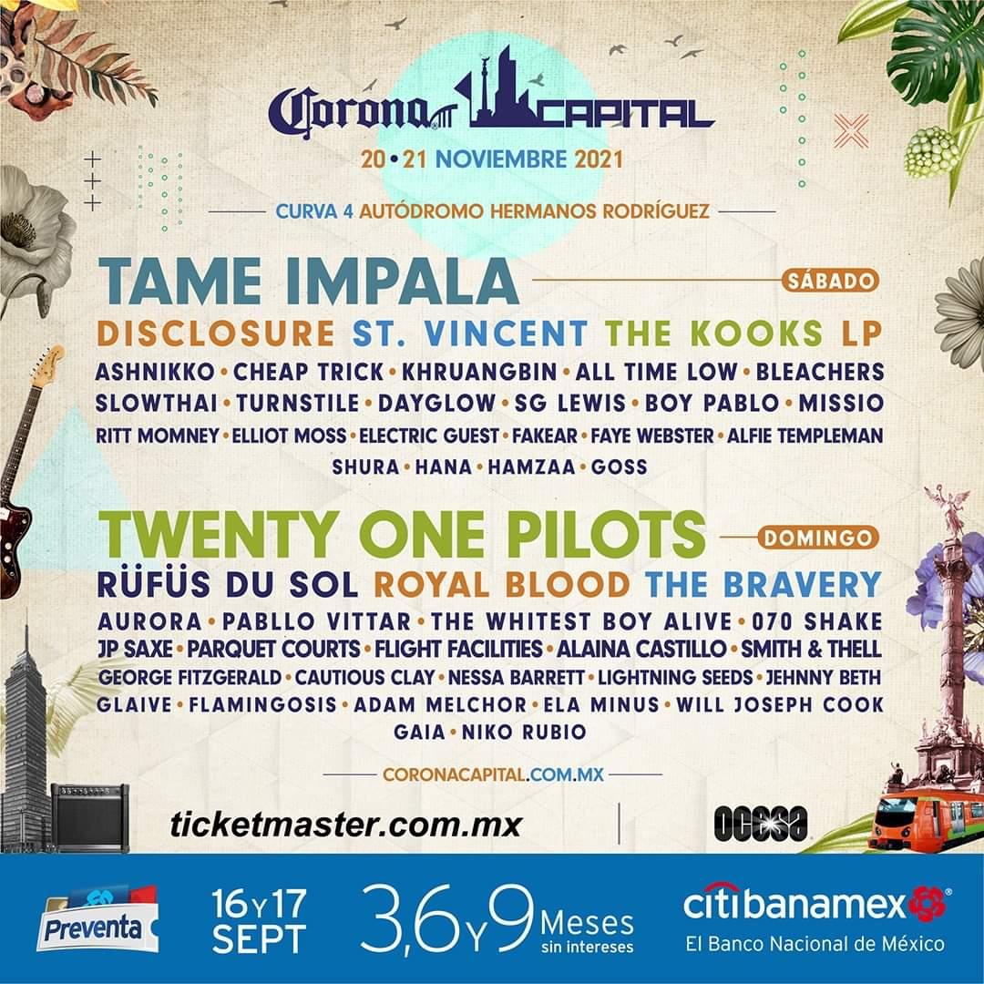Tame Impala y Twenty One Pilots encabezan cartel de Corona Capital 2021