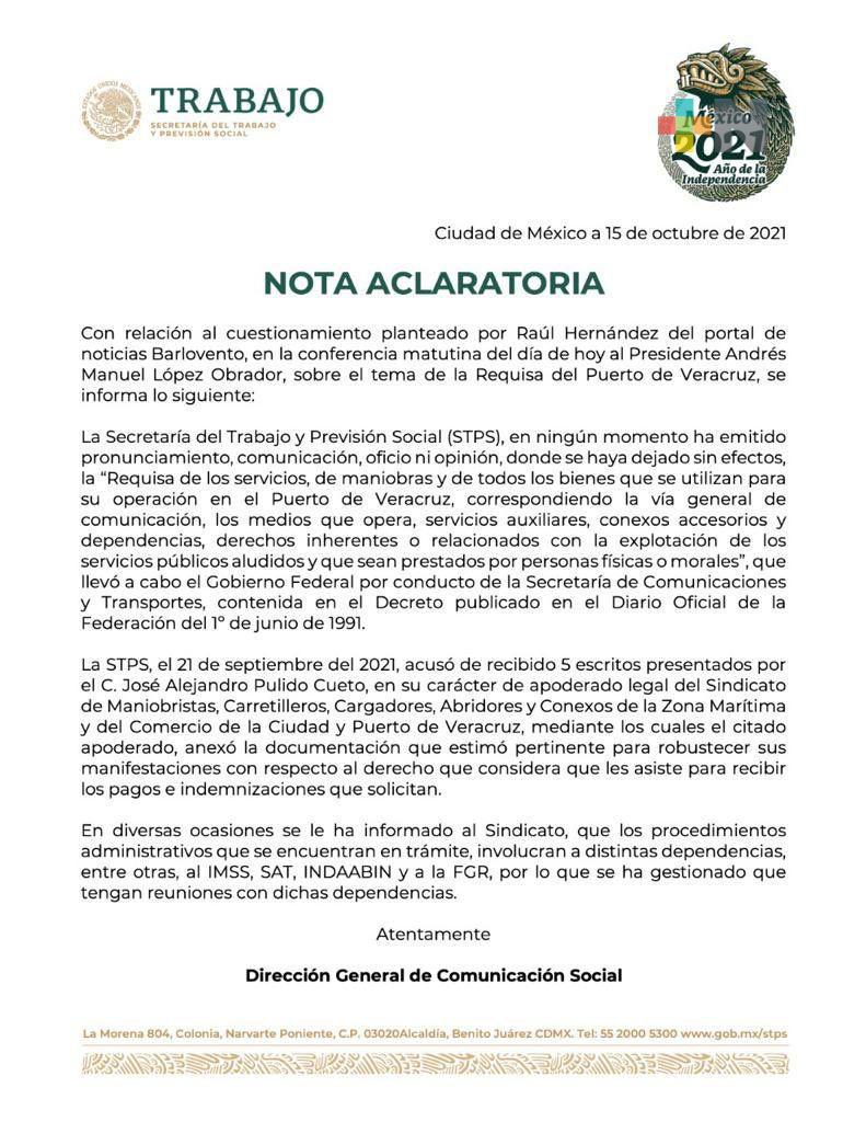 STPS atenderá tema de la Requisa del Puerto de Veracruz