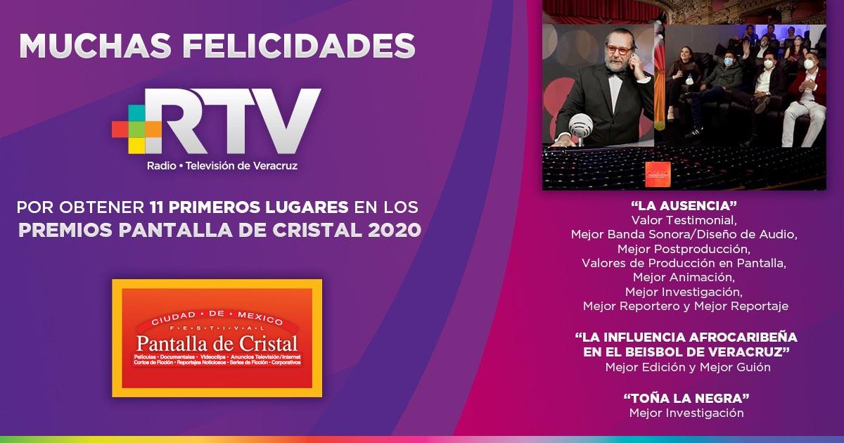 Gana Radiotelevisión de Veracruz once primeros lugares en los premios Pantalla de Cristal 2020